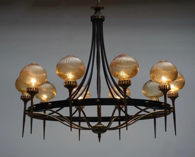 Copper Italian Chandelier in Brass and Murano Glass For Sale
