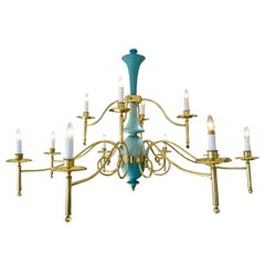 Italian Chandelier in Brass and Robins Egg Blue