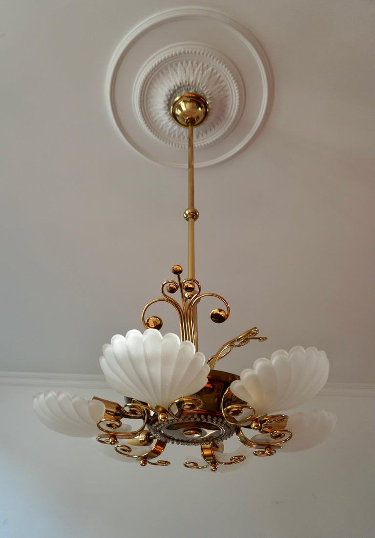 Italian Chandelier in Brass with Murano Glass Shells, 1970s For Sale 11