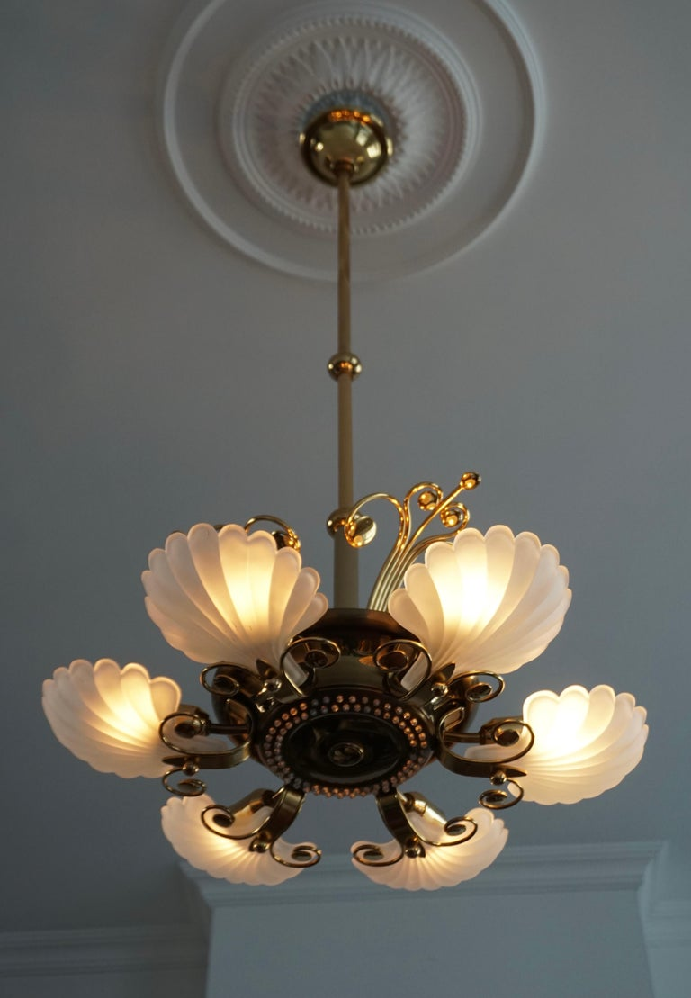 20th Century Italian Chandelier in Brass with Murano Glass Shells, 1970s For Sale
