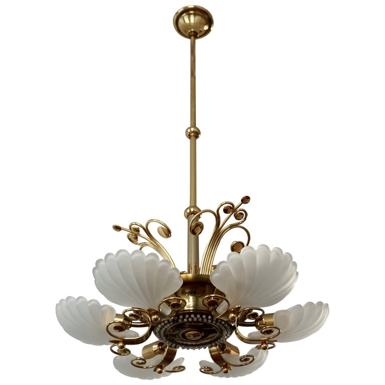 Italian Chandelier in Brass with Murano Glass Shells, 1970s For Sale