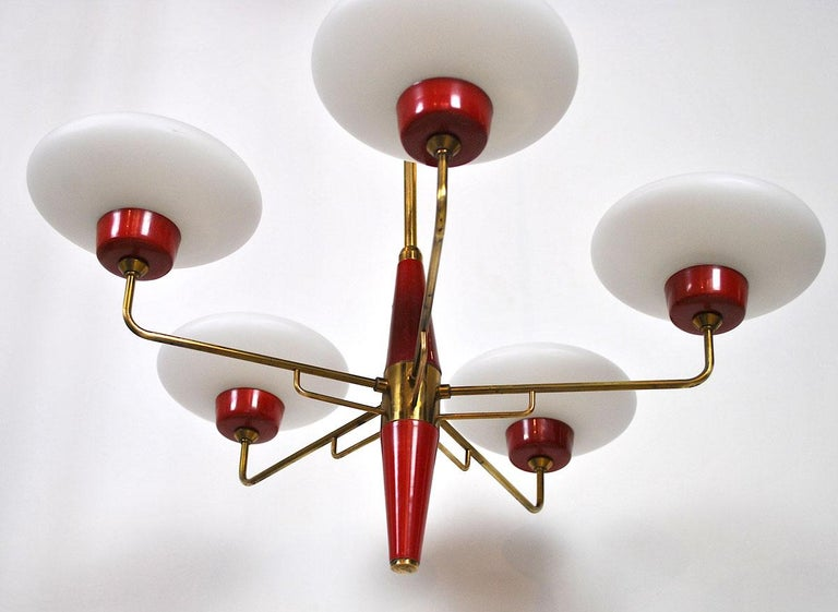 Italian Chandelier in Stilnovo Style in Brass and Opaline Glass, 1950s For Sale 5