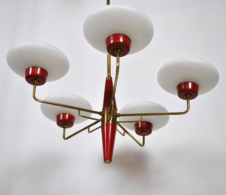 Italian Chandelier in Stilnovo Style in Brass and Opaline Glass, 1950s For Sale 6
