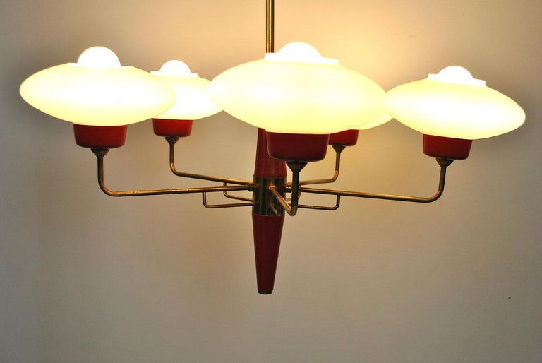 Italian Chandelier in Stilnovo Style in Brass and Opaline Glass, 1950s For Sale 11