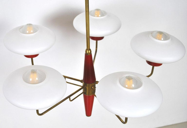 Metal Italian Chandelier in Stilnovo Style in Brass and Opaline Glass, 1950s For Sale