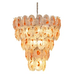 Italian Chandelier in Structured Glass with Orange Highlights