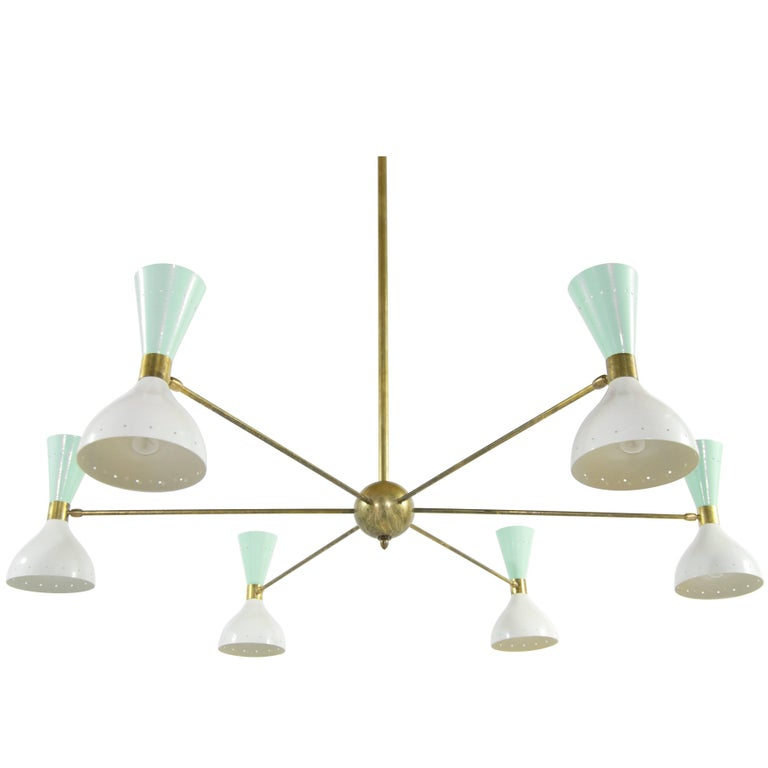 Italian Chandelier in the Style of Stilnovo, 1950s