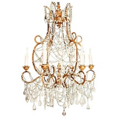 Italian Chandelier in Wood, Gilt-Iron and Glass