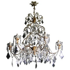 Italian Chandelier Iron and Turned wood, circa 1940