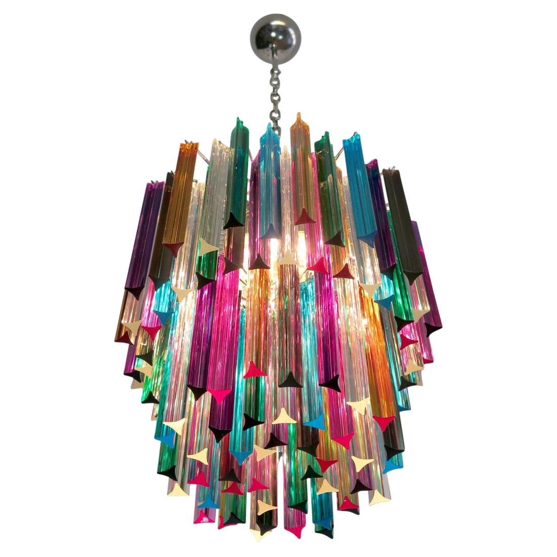Italian Chandelier Multi-Color Triedri, Murano, 1970s