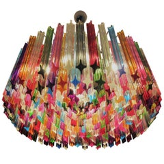 Italian Chandelier Multicolored Prism, Murano