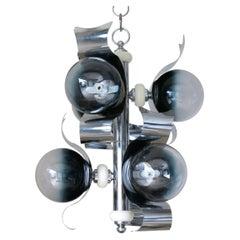 Italian Chandelier Murano Glass Globes, Curved Chrome Frame by Sciolari C 1960s