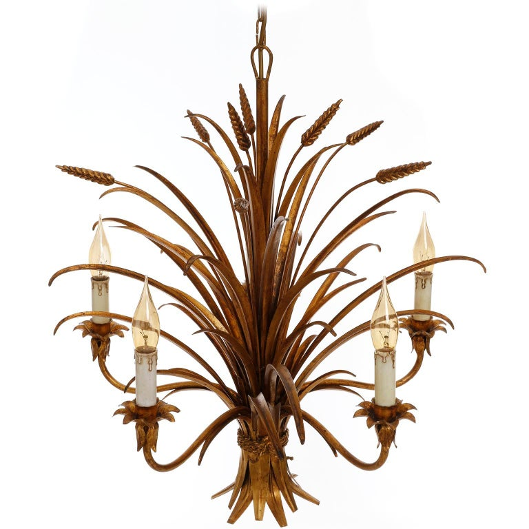 Italian Chandelier Pendant Light, Gilt Metal, 1970s For Sale 5