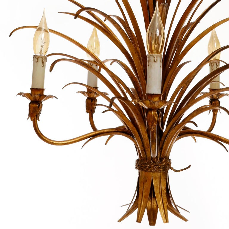 Italian Chandelier Pendant Light, Gilt Metal, 1970s For Sale 7