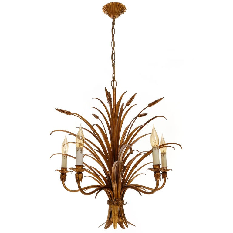 Mid-Century Modern Italian Chandelier Pendant Light, Gilt Metal, 1970s For Sale