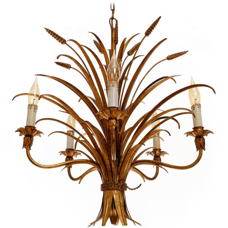 Late 20th Century Italian Chandelier Pendant Light, Gilt Metal, 1970s For Sale