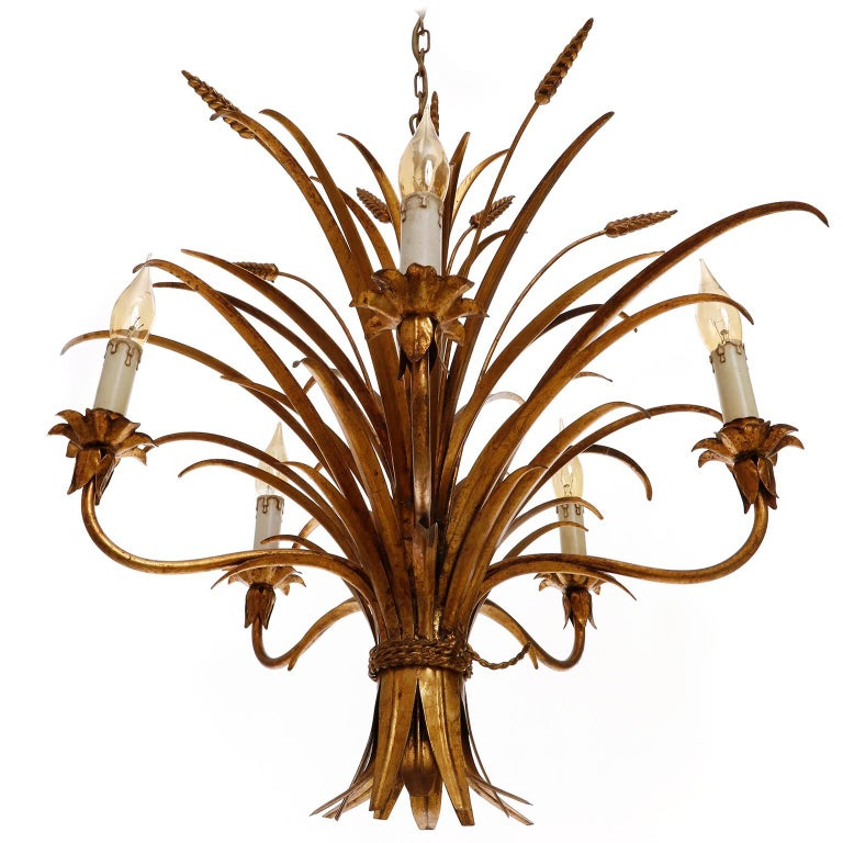 Italian Chandelier Pendant Light, Gilt Metal, 1970s For Sale 1