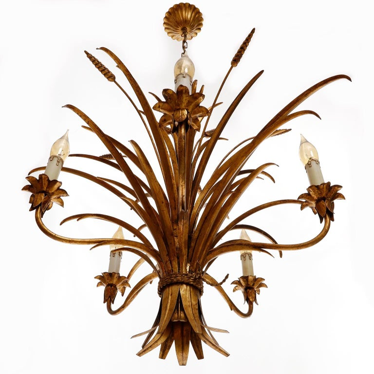 Italian Chandelier Pendant Light, Gilt Metal, 1970s For Sale 2