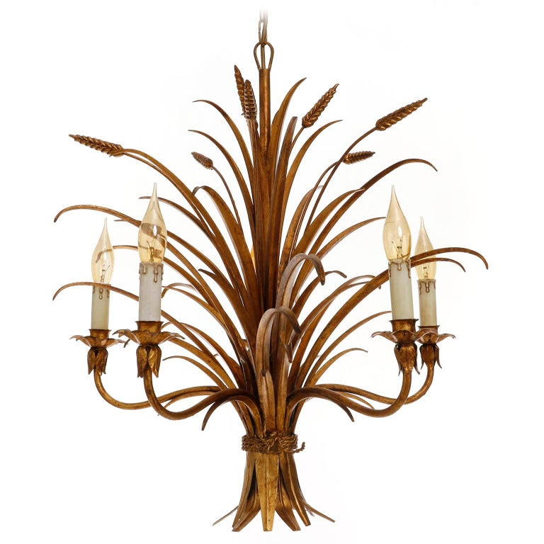 Italian Chandelier Pendant Light, Gilt Metal, 1970s For Sale 4