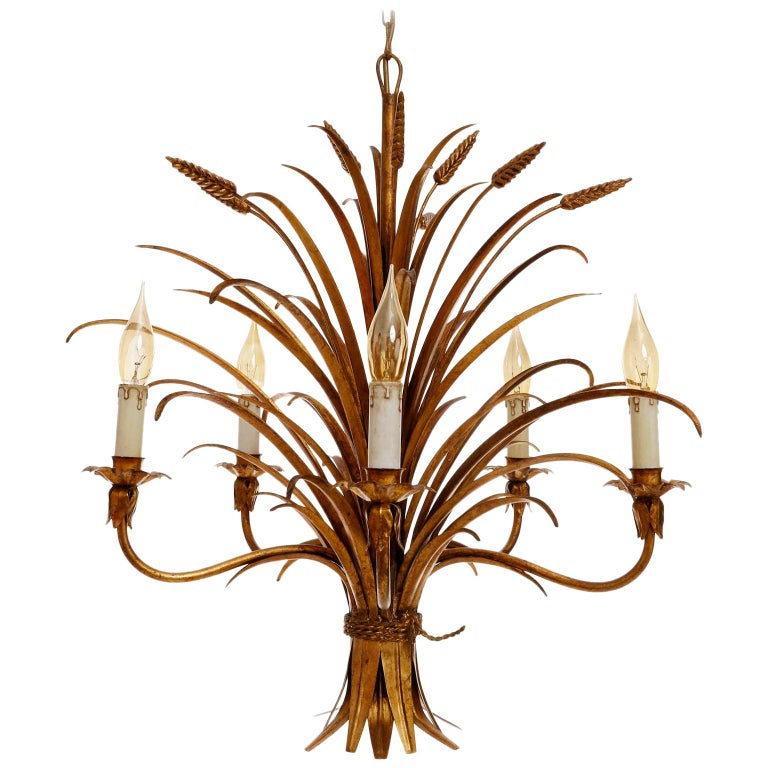 Italian Chandelier Pendant Light, Gilt Metal, 1970s For Sale