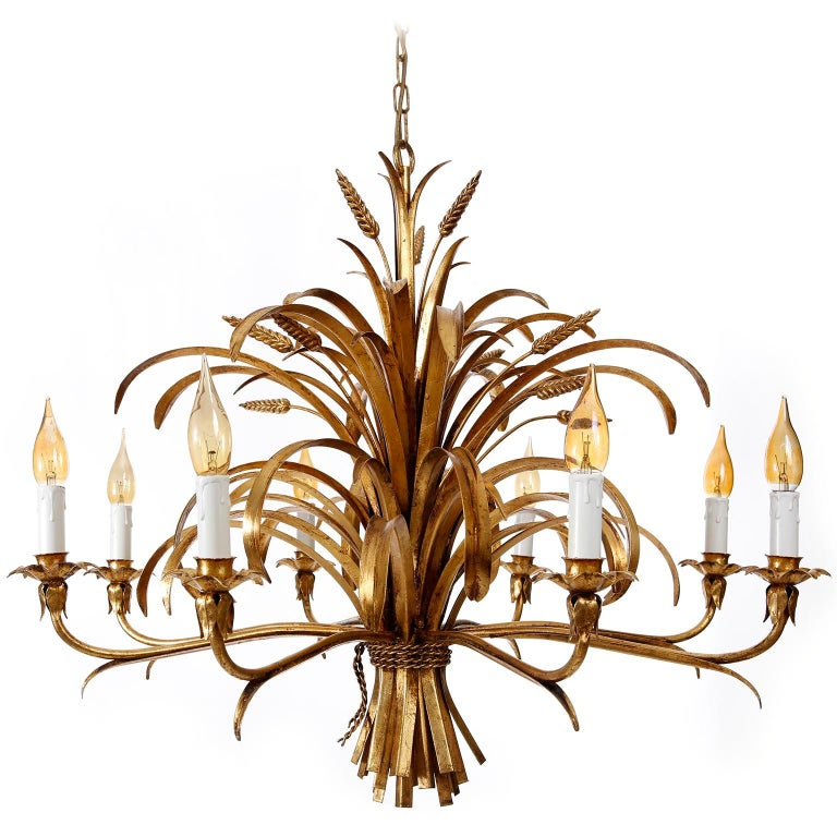 Italian Chandelier Pendant Light, Gilt Metal, 1970s For Sale 11