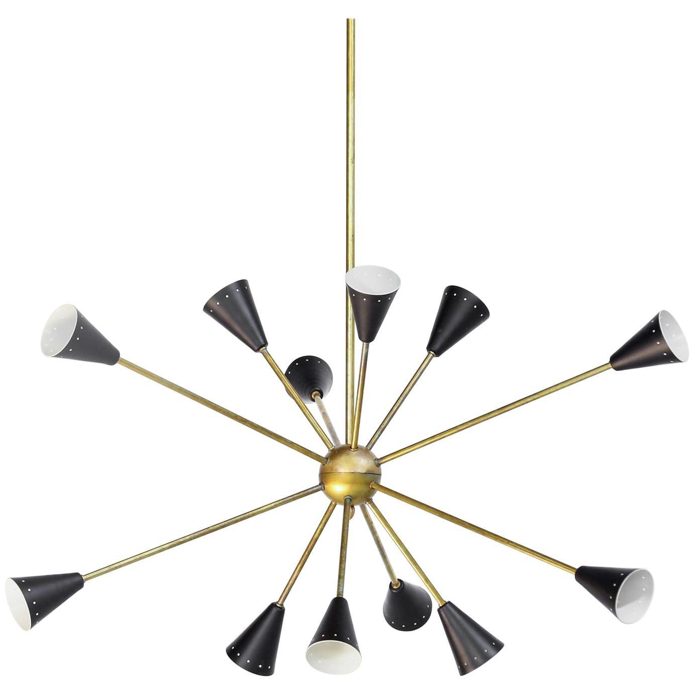 "Italian Chandelier ""Spootnik"" Stilnovo Style Design Midcentury Brass"