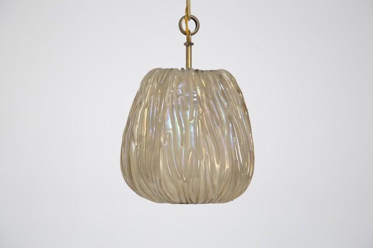Mid-Century Modern Italian Chandelier Venini Pendant in Irridescent White Glass For Sale