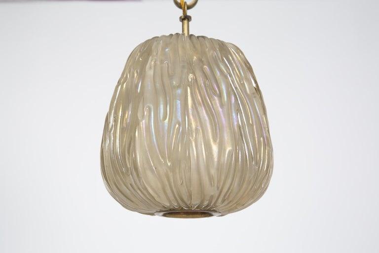 Italian Chandelier Venini Pendant in Irridescent White Glass In Good Condition For Sale In Milano, IT