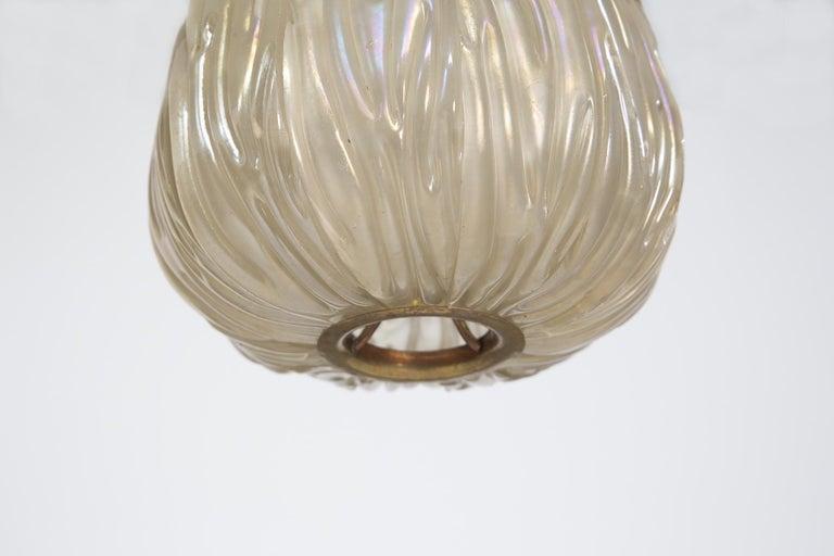 Mid-20th Century Italian Chandelier Venini Pendant in Irridescent White Glass For Sale