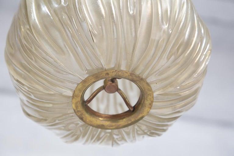 Brass Italian Chandelier Venini Pendant in Irridescent White Glass For Sale