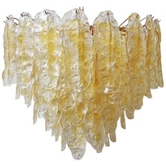 Italian Chandelier with Hand Blown Amber Murano Glass Leaves, 1980s