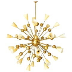 Italian Chandelier with Amber Murano Glass and Brass, 1990s