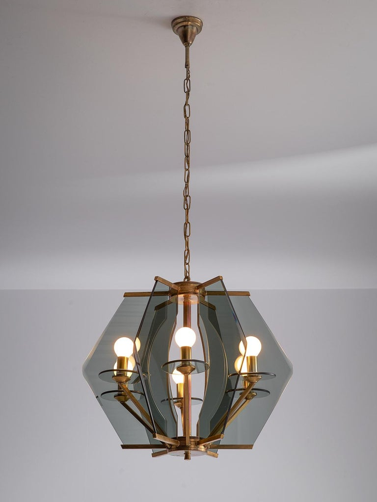 Chandelier in the style of Max Ingrand for Fontana Arte, glass, metal and brass, Italy, 1950s