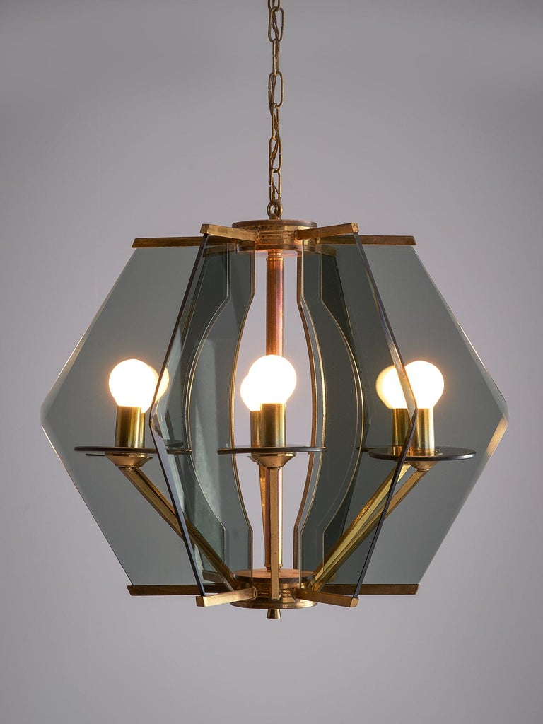 Mid-Century Modern Italian Chandelier with Brass and Smoked Glass For Sale