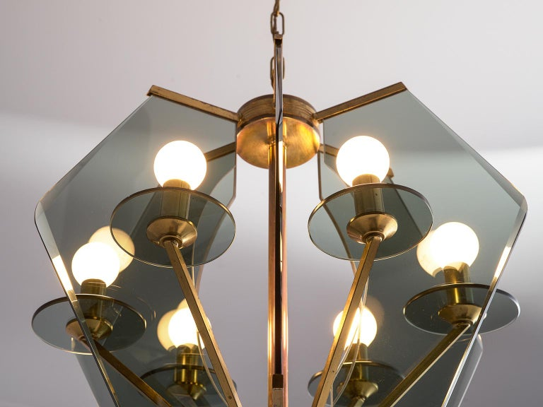 Italian Chandelier with Brass and Smoked Glass In Good Condition For Sale In Waalwijk, NL