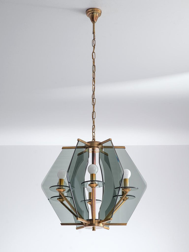 Mid-20th Century Italian Chandelier with Brass and Smoked Glass For Sale