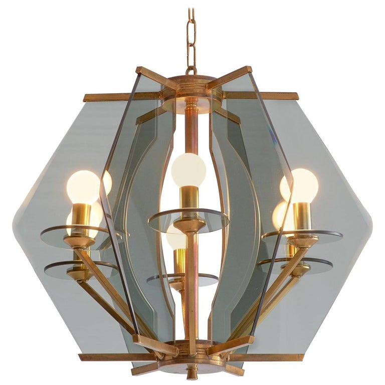 Italian Chandelier with Brass and Smoked Glass For Sale