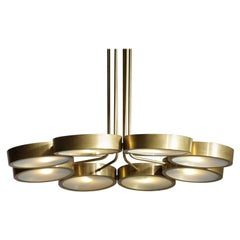 """Italian Chandelier with Brass Dome and Frosted Glass """"Pilo"""""""