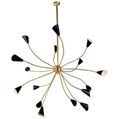 Italian Chandelier with Brass Structure and Adjustable Arms with Black Cones