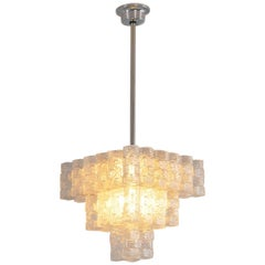 Italian Chandelier with Frosted Glass Sculptures