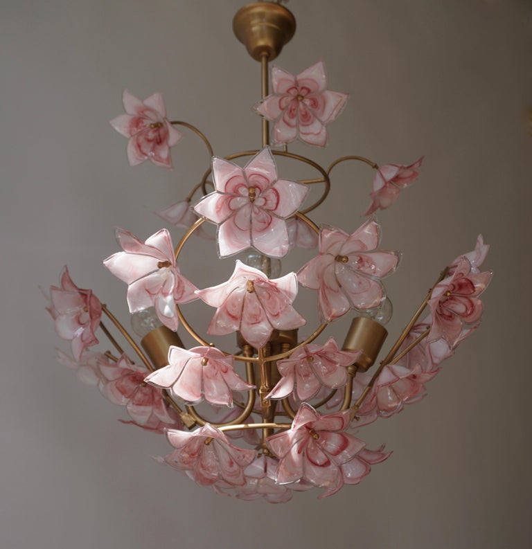 Italian brass chandelier with 35 beautiful pink white Murano glass flowers.