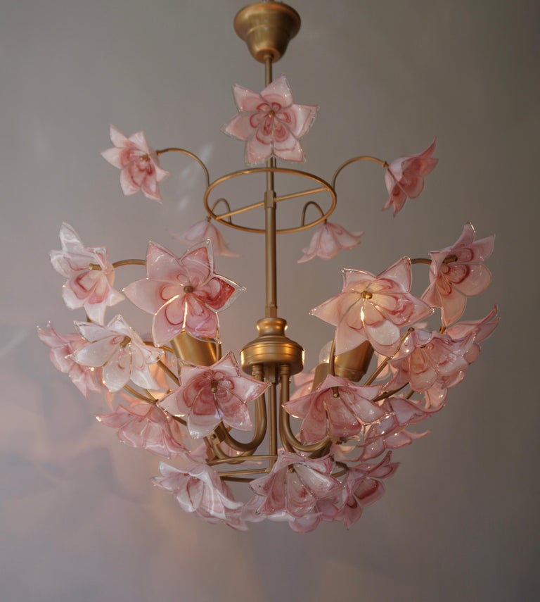 Brass Italian Chandelier with Pink White Murano Glass Flowers For Sale