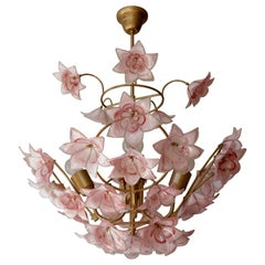 Italian Chandelier with Pink White Murano Glass Flowers