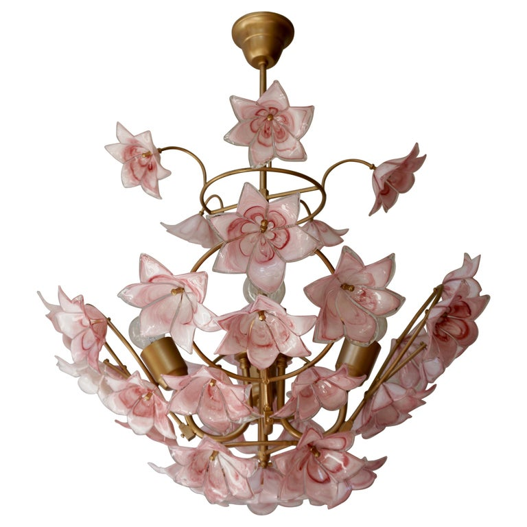 Italian Chandelier with Pink White Murano Glass Flowers For Sale