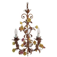 Italian Chandelier with Porcelain Flowers