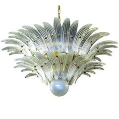 Italian Chandeliers Palmette, Opal Iridescent Glass, Murano, 1970s-1980s