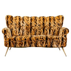 Italian Channel Tufted Curved Sofa in Cut Velvet with Brass Legs, 1950s
