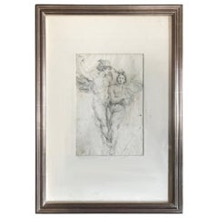 Italian Charcoal Drawing of Apollo and Daphne