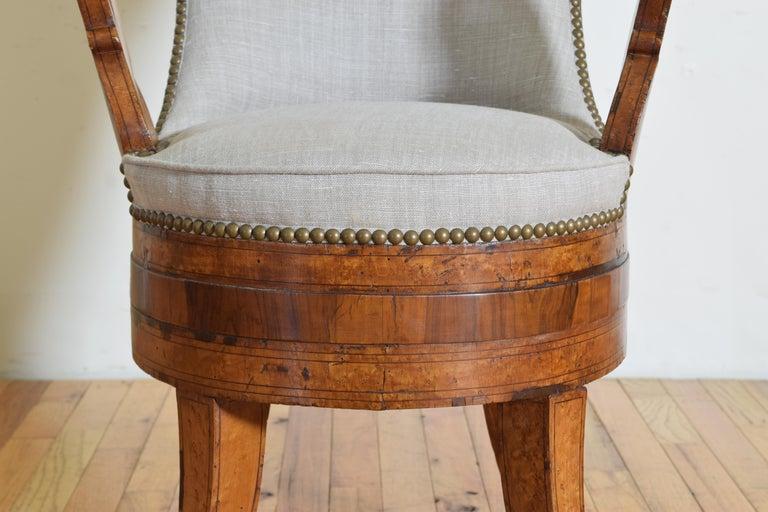 Italian Charles X Period Rosewood and Maple Veneered Armchair, circa 1830-1840 6