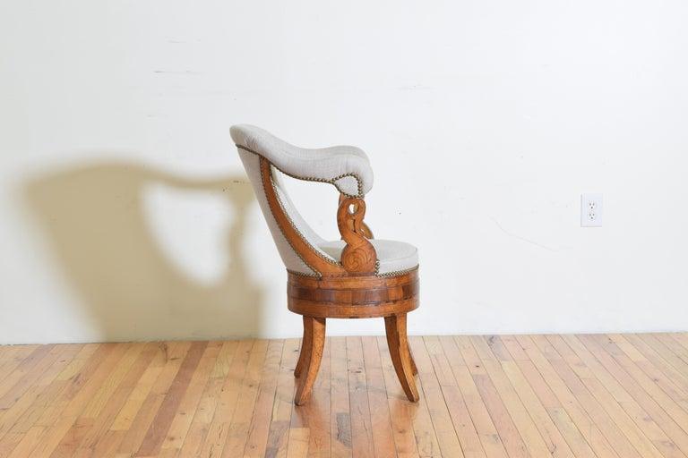 Mid-19th Century Italian Charles X Period Rosewood and Maple Veneered Armchair, circa 1830-1840
